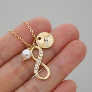 Infinity necklace, Personalized ini..