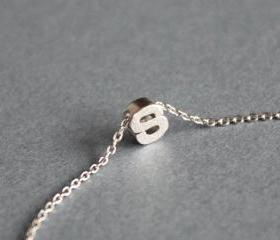Tiny initial S necklace, personalized necklace, initial jewelry
