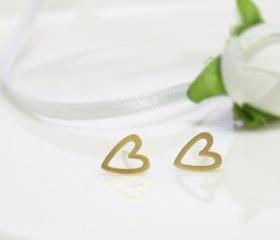 Open heart earring in gold -silver post