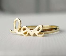 Adjustable Love ring in gold, knucle ring, letters ring
