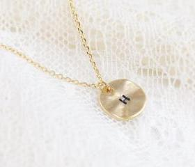 Personalized initial gold disc necklace, best friend necklace, circle, coin, initial jewelry