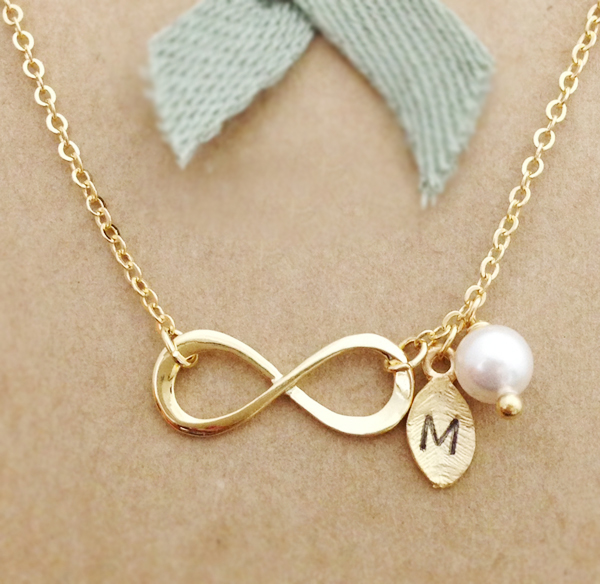 infinity necklace with leaf initial charm personalized