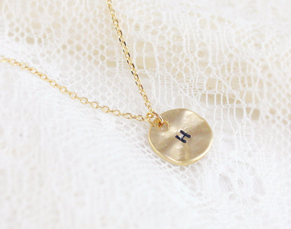 Wedding Present For Best Friend Malaysia : Personalized Initial Gold Disc Necklace, Best Friend Necklace, Circle ...