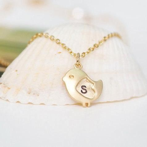 Bird Necklace, Personalized necklace, initial necklace,Heart bird necklace,initial bird,Love Bird Jewlery, Love Necklace,For Mom,baby shower